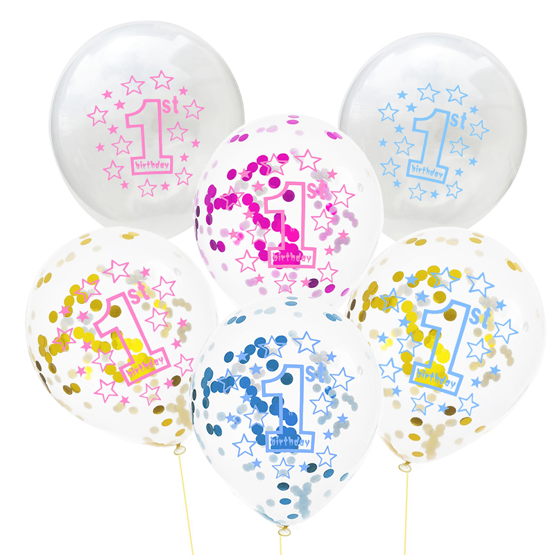 """6 x It/'s A Boy Baby Shower Clear Party Decorations 12/"""" Latex CONFETTI BALLOONS"""