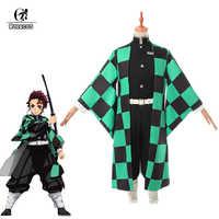 ROLECOS Anime Dämon Slayer Cosplay Kostüm Kamado Tanjirou Kimetsu keine Yaiba Cosplay Kostüm Männer Kimono Uniform Vollen Satz