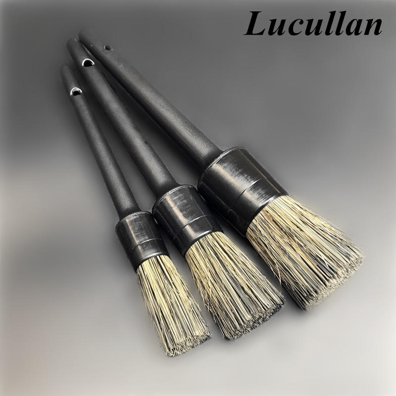 Lucullan Plastic Handle Car Detailing Brushes Super Dense Mix Color Bristle For Interior Rims Wheels Cleaning