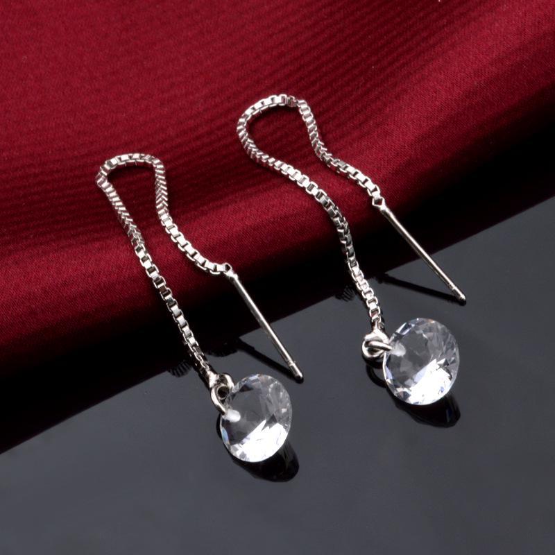 Mulheres de luxo longo corrente gota brincos cristal strass shinny cocktail linear balançar brincos para festa jóias