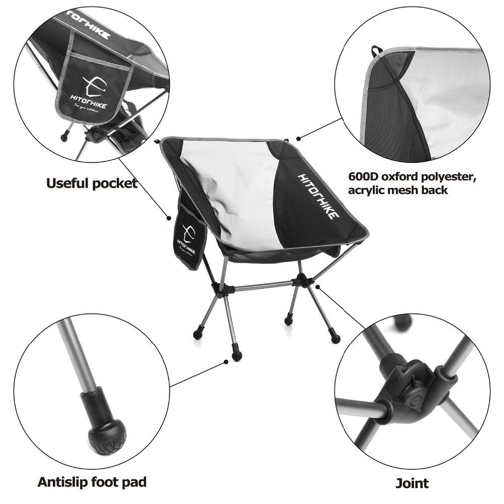Hitorhike Travel Ultralight Folding Chair Superhard High Load Outdoor Camping Portable Beach Hiking Picnic Seat Fishing Chair