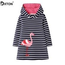DXTON Cotton Kids Dresses Hooded Girls Dress Stripe Autumn Winter Costume Flamingo Long Sleeve Children 2-7Y