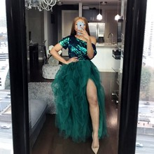 African Sequined Prom Dresses Plus Size One Shoulder Short Sleeves Two Pieces Cocktail Party Dress Side Split Tutu Women Gowns two tone oblique shoulder split dress