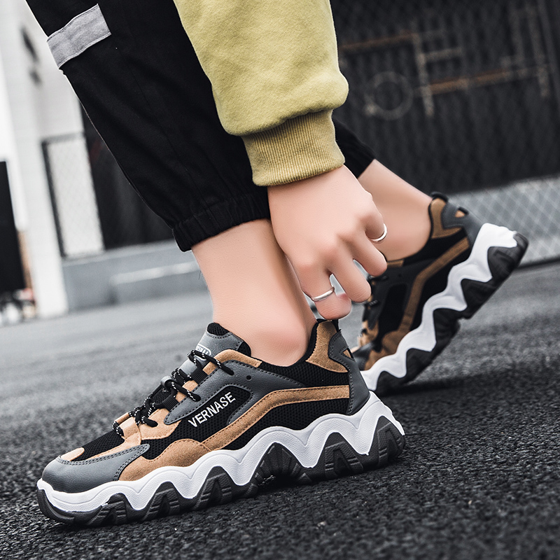 Deal‡Seedstar Men Sneakers Sneaker with High Sole 2020 New Platform Sneakers men Shoes Chunky Sneakers Lace Up Designer Dad Sneakers