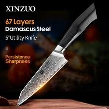 XINZUO-cuchillo de utilidad de 5 pulgadas, 67 capas, acero damasco VG10 negro G10 y mango de remache de latón de mosaico, cuchillos de fruta de cocina Newarrive 2020