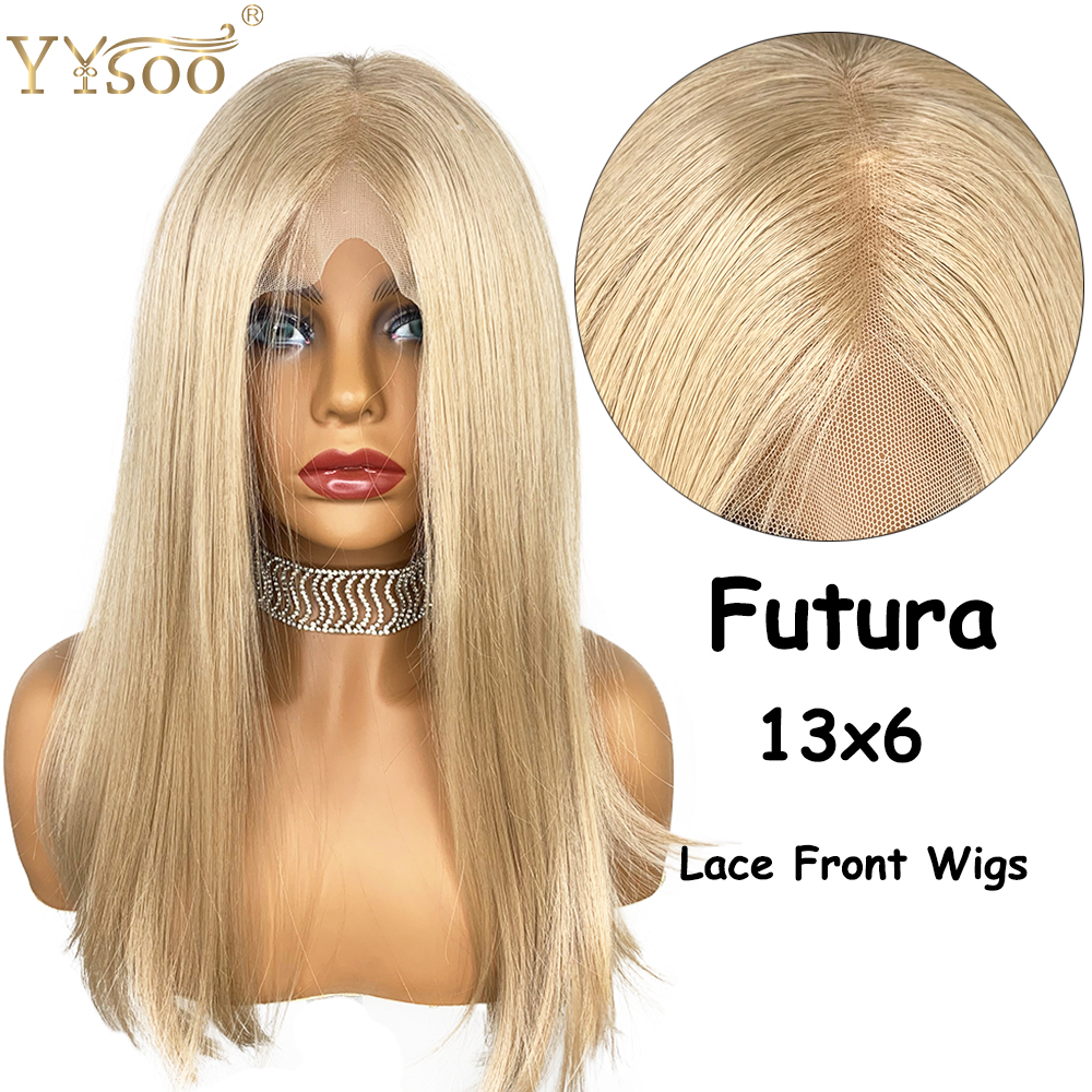 YYsoo Silk Straight 13X6 Short Bob Lace Front Wig Lace Frontal Futura Japan Heat Resistant Hair Fiber Replacement  Wig