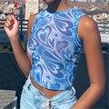 Female Y2K Crop Tops Women Mesh Love Sweet Print Vintage Fashion Vest 2021 Summer Tank Tops Off Shoulder Skinny T Shirt Tops
