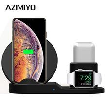 AZiMiYO Wireless Charger 3 in 1 แท่นวางสำหรับ Airpods iPhone X XS XR 11 PRO MAX 8 Fast แท่นชาร์จไร้สาย