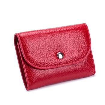 Mujeres monedero de cuero genuino hebilla femenina organizador de viaje Mini bolsa de almacenamiento pequeñas billeteras para llaves Paquete de tarjetas de visita