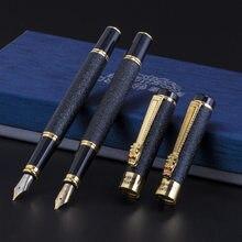 Lüks yüksek kaliteli kahraman dolma kalem buzlu siyah altın ejderha iraurita mürekkep kalem kırtasiye ofis okul malzemeleri yeni