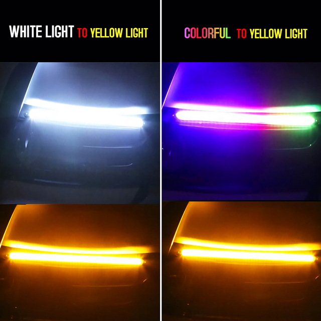 2Pcs Led Car DRL Daytime Running Lights Waterproof Universal DC 12V Auto Headlight Sequential Turn Signal