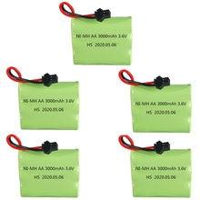 3.6 v 3000 mah ni-mh aa bateria bloco m modelo 3.6 v recarregável nimh bateria sm plug para rc brinquedos carro barco caminhão trem peças 1-10 pces