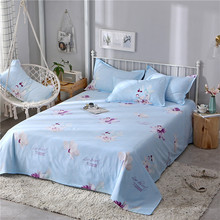 1 pc Skin-friendly cotton sheet single active printing twill double for 2.3m/2.5m bed