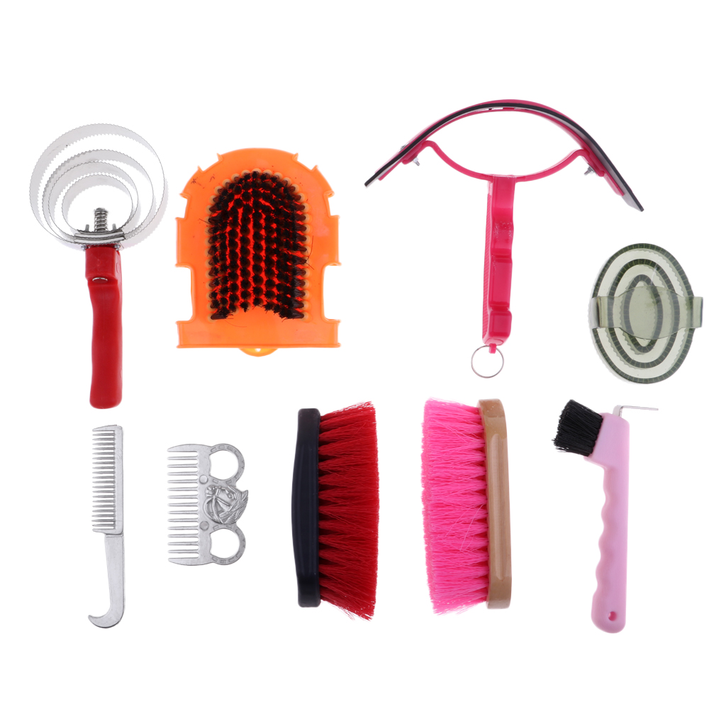 9pcs Horse Sweat Scraper & Mane &Tail Comb Brush Horse&Pony Care Equestrian Grooming Kit Horse Care Products Cleaning Equipment