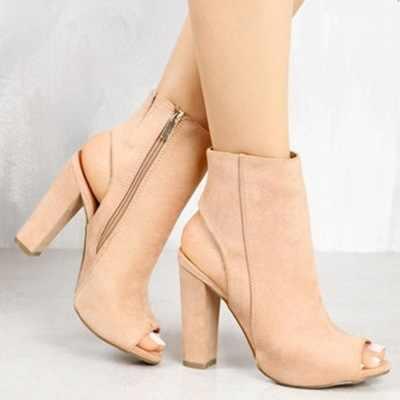 Botines de imitación de cuero de gamuza Casual abierto Peep Toe tacones altos cremallera moda cuadrado goma negro zapatos para mujeres de talla grande 43