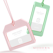 Modern - Macarons Fashion Work Card Holder With Silicone Rope Employee ID card 2 in 1 Credit Organizer