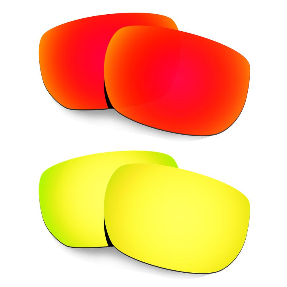 HKUCO For Style Switch Sunglasses Polarized Replacement Lenses 2 Pairs Red & Gold
