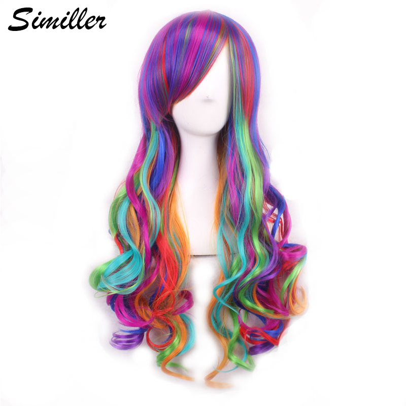 Similler Anime Cosplay Wigs For Women High Temperature Fiber Long Curly Rainbow Wig With Bangs