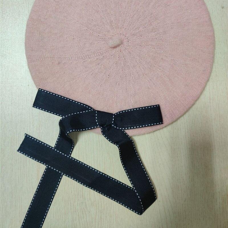Новая мода женские мягкие элегантные береты с бантом зимняя теплая шапка Harajuku шерстяной берет шапка с бантом - Цвет: light pink