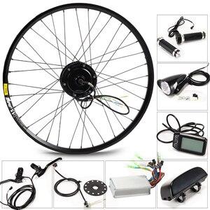 Image 1 - 전기 자전거 키트 모터 휠 36 v 350 w 26 인치 1.95/2.10 전기 자전거 변환 키트 ebike 전자 자전거 산악 도로 속도 자전거
