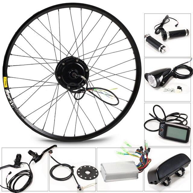 전기 자전거 키트 모터 휠 36 v 350 w 26 인치 1.95/2.10 전기 자전거 변환 키트 ebike 전자 자전거 산악 도로 속도 자전거