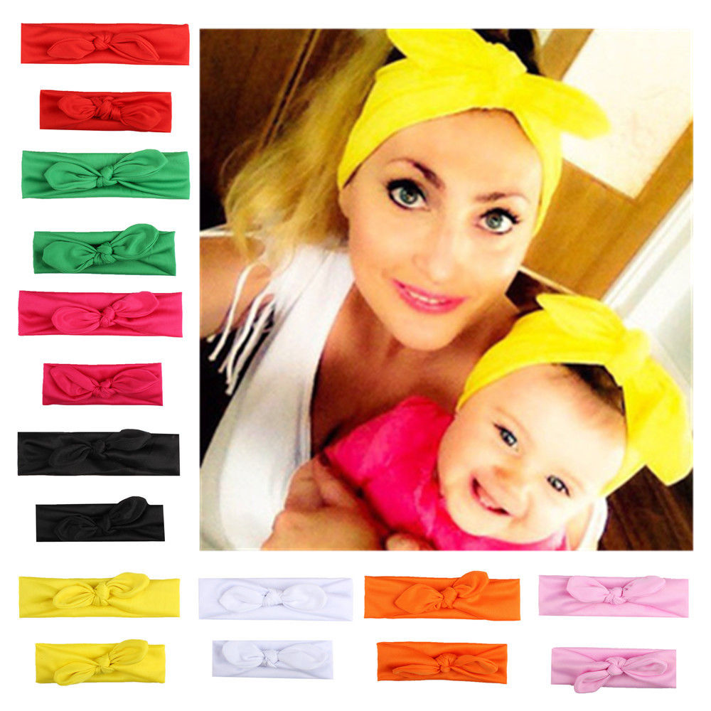 2Pcs Mama & Baby Headwear Toddler Girls Mom Elastic Bow Knotted Turban Hair Band Headband Fashion Princess Bow Children Headwear
