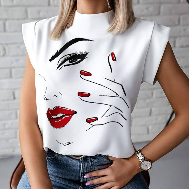 Women Elegant Lips Print blouse shirts 2020 Summer Casual Stand Neck Pullovers tops Ladies Fashion cute Eye Short Sleeve Blusa(China)