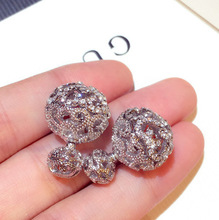 Luxury Fashion Korean hollow rhinestone dual use  sliver earrings for women christmas party ball small jewelry