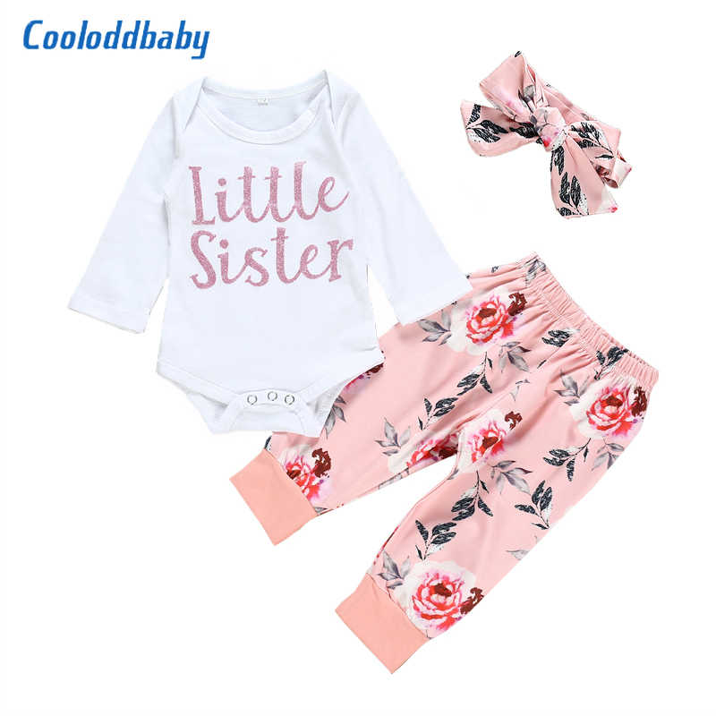 Hat Outfits Sets 4Pcs Baby Girl Fall Clothes Newborn Little Sister Breathable Bodysuit Striped Long Pants