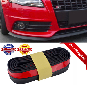 2.5m 65mm Width Car Protectors Front Bumper Lip Splitter Car Sticker Body Kits Spoiler Bumpers Valance Chin Car Rubber Strip