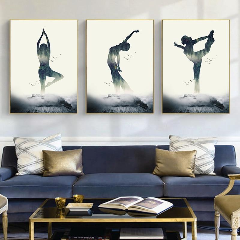 Женский плакат на холсте с изображением леса для йоги, минималистичные фотообои, картины для украшения дома в скандинавском стиле