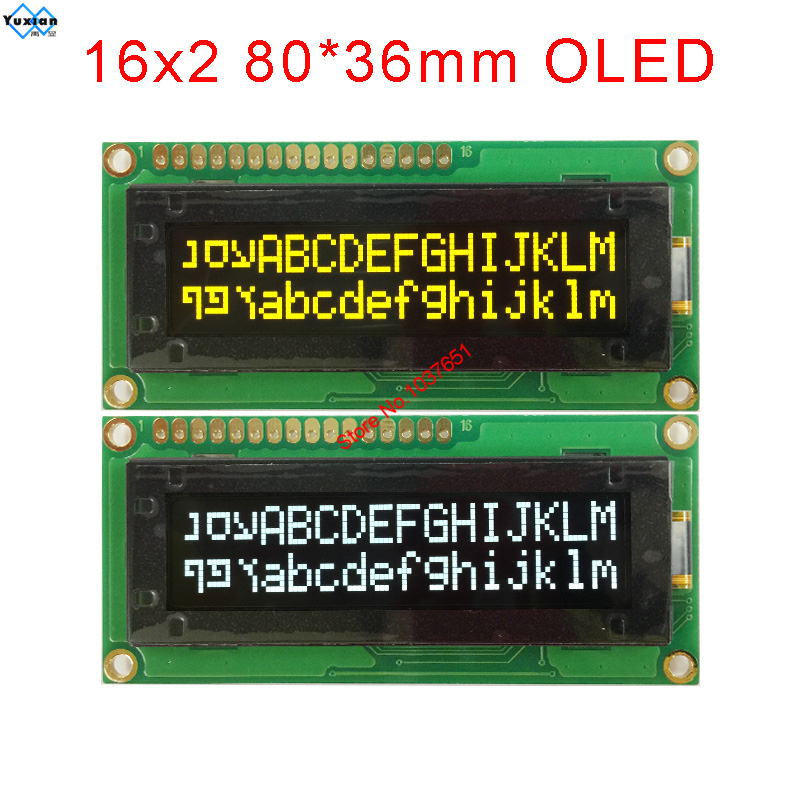 OLED 1602 16x2 White Yellow 80*36mm 3.3v 5v  16pin LEC1621-Y56 Instead NHD-0216KZW-AY5