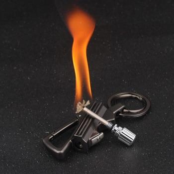 Fire Starter Encendedor Torch Lighter Isqueiro Free Fire Flint Fire Starter Outdoor Survival Tool Key Chain A Bottle Opener