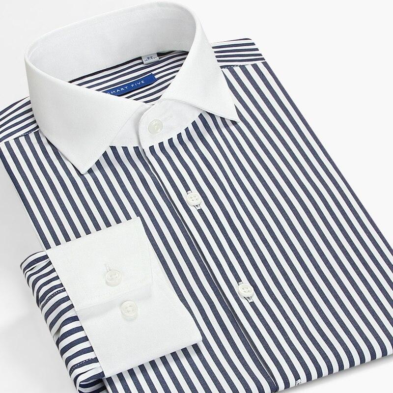 Intelligente Cinque Camicia A Righe Uomo Maniche Lunghe Slim Fit Pactch Inghilterra collare Windsor Camicia di Vestito di Affari Formale 2019 Autunno