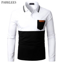 Jersey-Tops Polo-Shirt Slim-Fit Mens Pocket Casual Brand-New Patchwork Male Camisas-De-Hombre