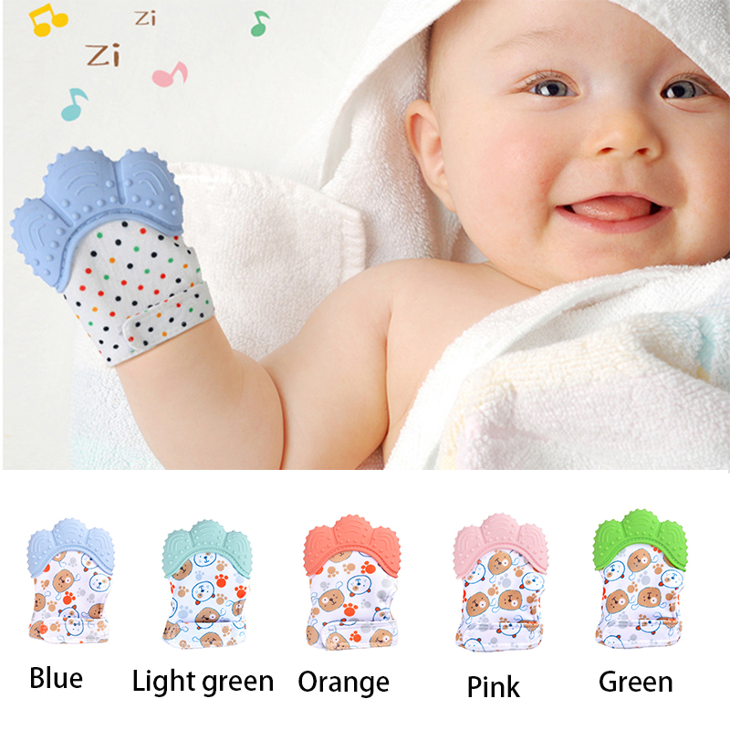 Bpa Free Silicone Teether Glove Baby Teething Mitten Safe Pacifier Gloves For Teeth Toddler Chew Gym Bite Toy Stop Thumb Sucking