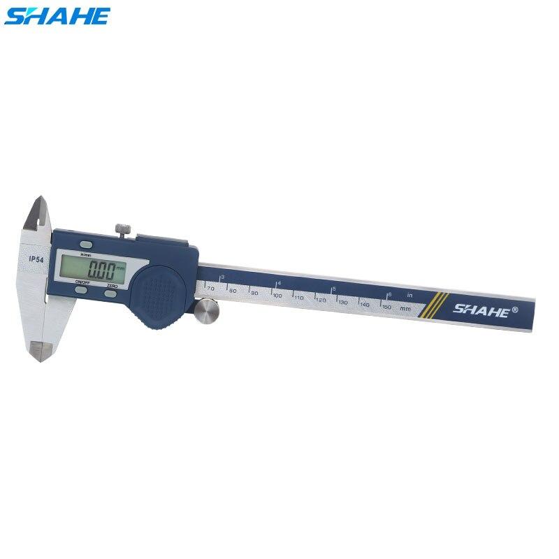 Shahe ip54 pinças digitais à prova dwaterproof água de aço inoxidável eletrônico vernier caliper 150 mm ferramentas medição pinças vernier