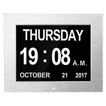 Digital Calendar Alarm Day Clock - with 8 Inch Large Screen Display, Am Pm, 5 Alarm, the Aged Seniors, the Dementia, for Desk, W