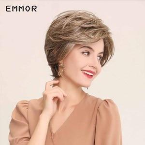 Image 2 - EMMOR Synthetic Laceด้านหน้าWigs 6 นิ้ว 50% Hair Blend Pixieตัดวิกผมสั้นธรรมชาติHairlineสำหรับผู้หญิง 4 สี