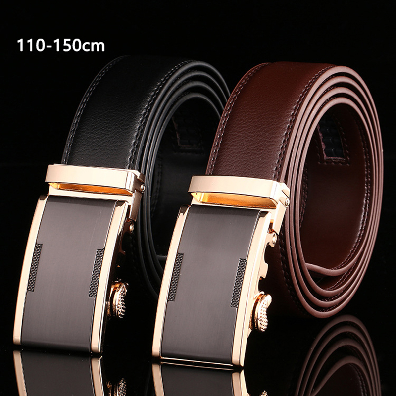 110 140 150cm Belts For Men Top Quality Automatic Buckle Men's Belt Genuine Leather Belts Men Business Trouser Belt For Jeans
