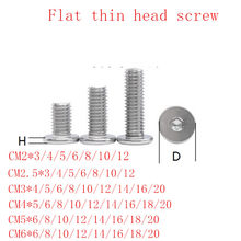 10-50pcs CM m2 m2.5 M3 M4 M5 m6 stainless steel large flat Hex Socket Ultra Thin Super Low Wafer Head Allen Cap Screw Bolt(China)