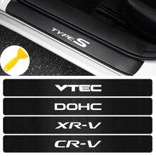 4pcs Carbon Fiber Anti Scratch Scuff Pedal Car Emblem Sticker Protective Case For Honda Civic Accord Crv Jazz decor Accessories