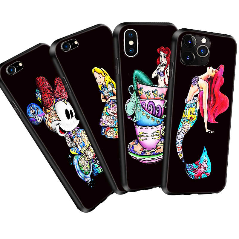 Coque Cartoon Tattoo Princess Little Mermaid Ariel Case for iPhone 11 Pro Max 5S 6S XR XS Max 7 8 Plus Case Silicone Phone Cover