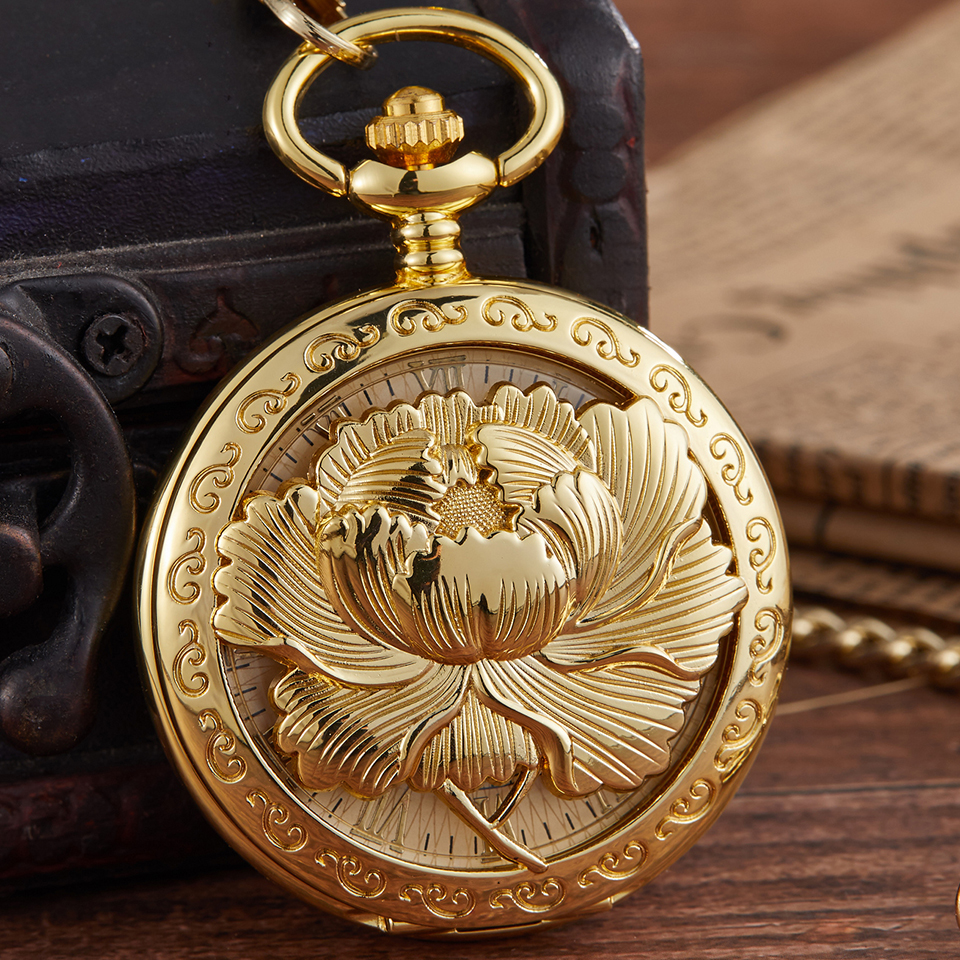 Elegant Mechanical Pocket Watch Hollow Flower Engrave Flip Case Fob Chain Clock Hand-Winding Vintage Watches For Men Women Gifts