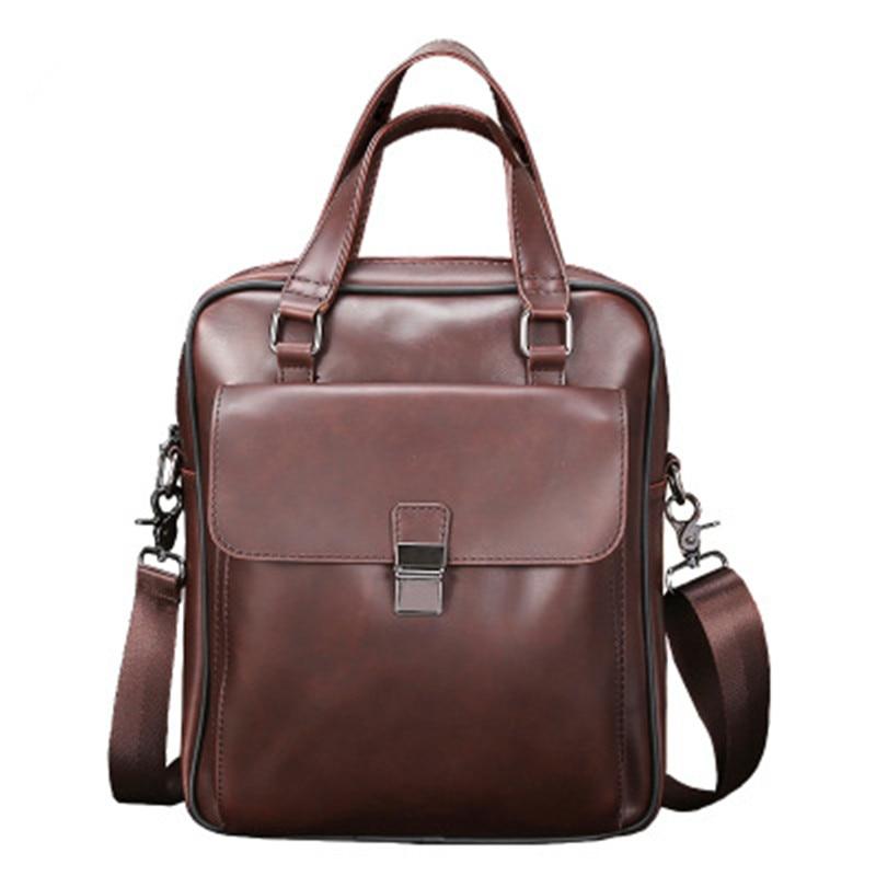Men's Vintage Briefcase Brand PU Leather Tote Business Office Messenger Bag Male Casual Laptop Handbag Solid Retro Shoulder Bags