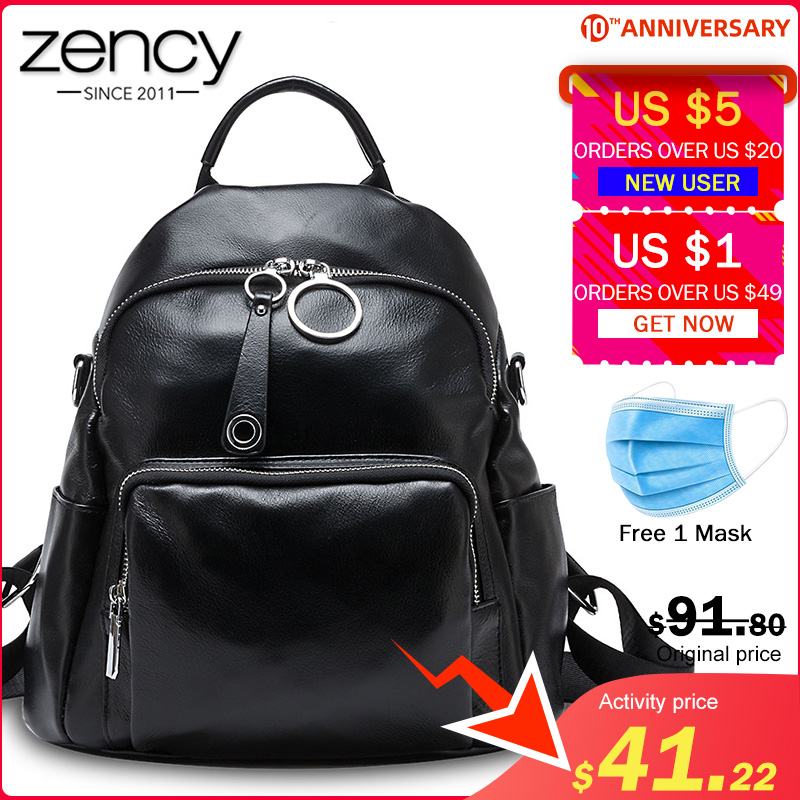 Zency Large Capacity Women Backpack Made Of Genuine Leather Preppy Style Student's Schoolbag High Quality Knapsack Black Grey