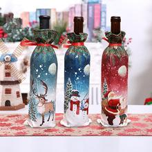 Christmas Wine Bottle Decoration Set Santa Claus Snowman Deer Cover For New Year Party