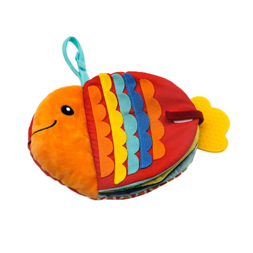 Creatieve Kleine Vis Doek Boek Cartoon Zee Dieren Pop Baby Vroege Onderwijs Rustgevende Speelgoed Wasbare Verlichting Doek Boek