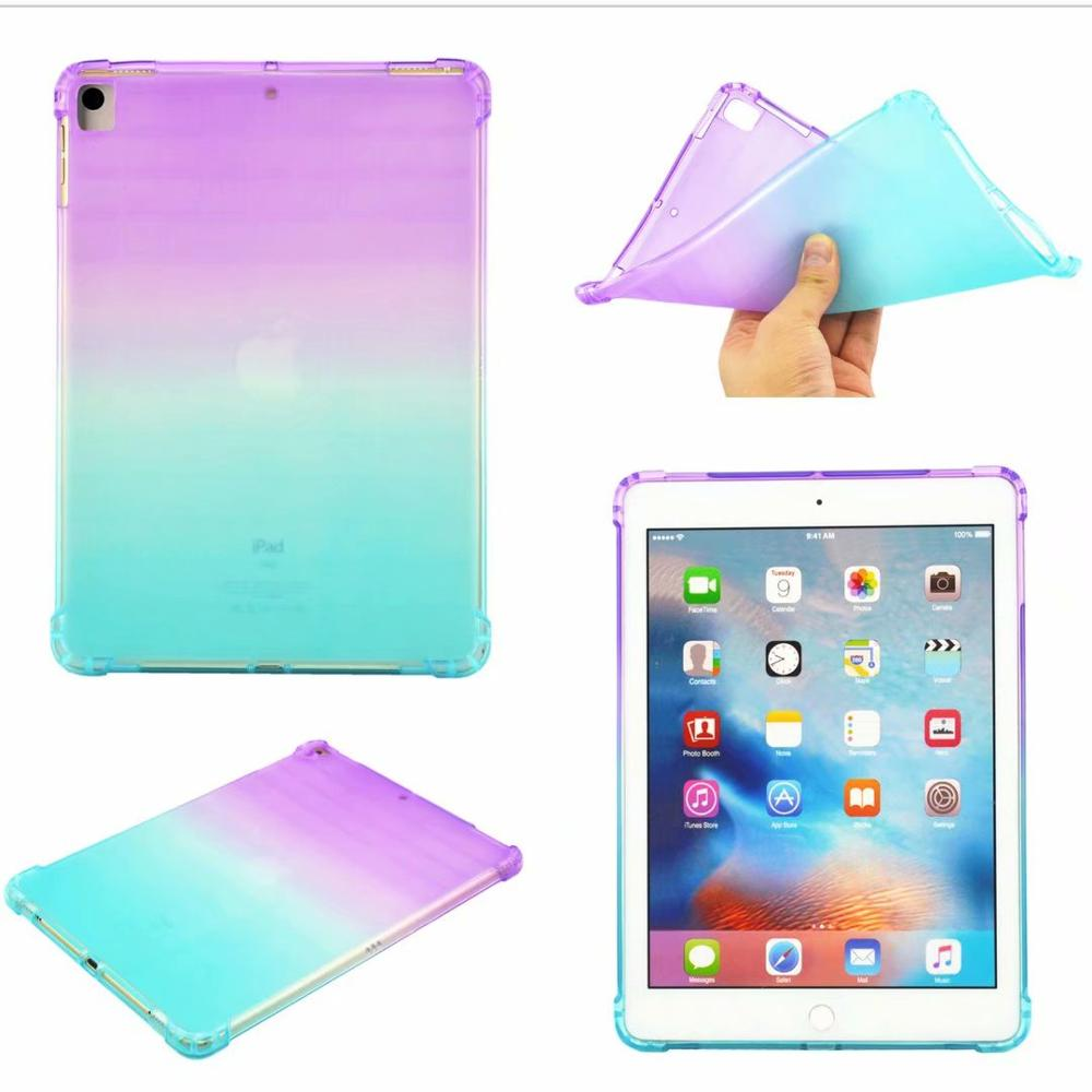 Purple- Green Blue High Duty Coque for iPad 10 2 Case Shockproof A2200 A2198 A2233 Soft Silicone TPU Gradient