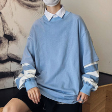 Autumn Cotton Fake Two Hoodies Men Fashion Striped Stitching Casual Sweatshirt Streetwear Loose Hip Hop Hoodie Man Hoody